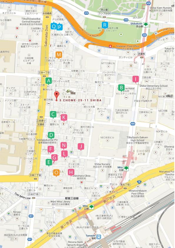 港区三田駅、田町駅、芝公園駅、赤羽橋駅から徒歩圏内のうづまこ陶芸周辺マップ
